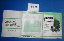 N°11281 / RUSTON dépliant petit moteur verticaux à l'huile lourde type VTH-VSH
