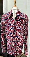 Vtg 70s Carl Micheal Shirt Disco POLYESTER Mod Woodstock Hippie Mens LG. 17-17.5