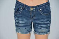Bubblegum Womens 1/2 Blue Jean Denim Shorts Rolled Cuff Frayed Hem Thick Stitch