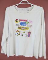TB06808- LIZ CLAIBORNE Women's Cotton Long Sleeve Tunic Beaded Sequined White 3X