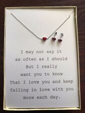 925 Sterling Silver Necklace/Studs Red Love Heart W/ poem for wife/girlfriend