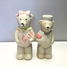 VINTAGE SALT AND PEPPER SHAKERS SET OF HAND PAINTED ROMANTIC TALL WHITE BEARS