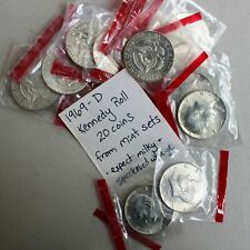 1969 D Kennedy Half Dollar (20) 50c US Coins Cello Wrap Cut From Mint Sets K2