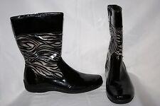 LifeStride Drizzle Too Women's Rain Boots Size 9.5 M Black Gray Zebra Zipper