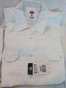 Men's Dickies Long Sleeve white Work shirt  Size M new