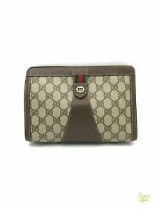 GUCCI Beige GG Supreme Striped Vintage Clutch Pouch Accessories Collection