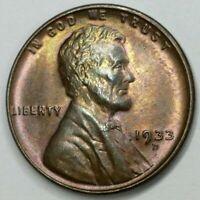 MS+ GEM 1933 D - US Lincoln Wheat Cent - Semi Key Date - Gorgeous Toning (Q368)