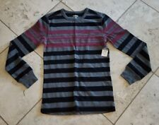 NWT Men's Carbon Multi Color Striped Long Sleeve Henley Size M