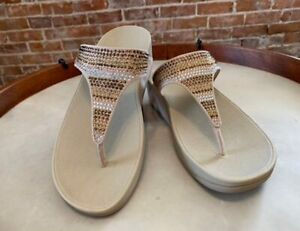 FitFlop Gold Multi Crystals Flare Strobe Luxe Toe Post Thong Sandal New