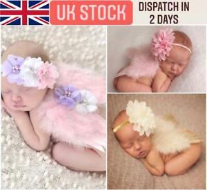UK Newborn Baby Feather Angel Wings Flower Headband Photoshoot Photography Props