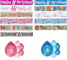 6th BIRTHDAY PARTY BANNERS PINK & BLUE PARTY DECORATIONS 6th BIRTHDAY BANNERS