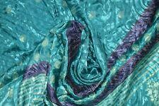 Vintage Blue Print Saree Crepe Silk Soft Craft Making Arts Dress Sari Fabric