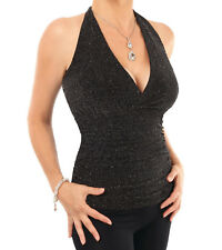 Black and Silver Sparkly Figure Hugging Halter Top - Fully Lined 18