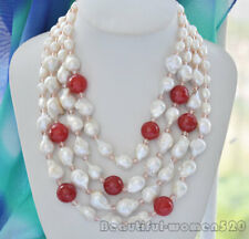 reborn pearl red jade crystal Necklace z6739 4strands 25mm white baroque keshi