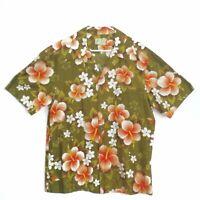 Ui-Maikai Vintage Hawaiian aloha surfer Shirt Men's large Floral metal buttons