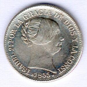 Spanien Isabella II. (1833-1868) 1 Real 1855 Silver KM#598.3, ss