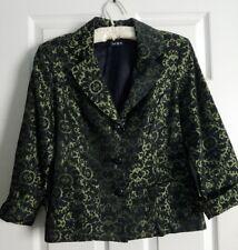 Vintage Green Black Brocade Button Front Dinner Evening Jacket ~ Women's Size 8
