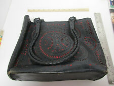 INGE SPORT Large Black & Red Leather Purse, Made in Indonesia, Snap Brass Clasp