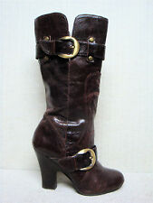 NAUGHTY MONKEY-Smooth Pebbled Brown Leather High Heel Engineer Belt Boots Size 7