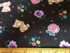 Cotton Corduroy Teddy bears, flowers, apples tossed on black-By the 1/4 yard