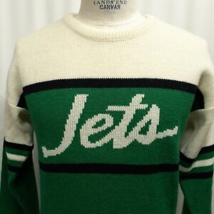 NEW VINTAGE 80's New York JETS Script Sweater NFL Football Cliff Engle SMALL