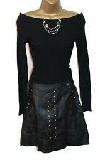Lipsy Sexy 2 in1 Jumper Dress 8 Leather Skirt Black Knit Long Sleeve Stud Bardot