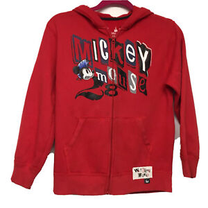 Disney World Mickey Mouse Hooded Sweatshirt Red/Youth Large Unisex  Zip Up/EUC