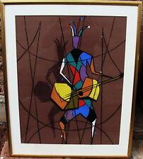 Composizione: Arlecchino con Chitarra,illeggibili autografato,Pastello,a 1970/80