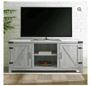 "Farmhouse Barn Door TV Stand for TVs up to 65"", Grey Wash"