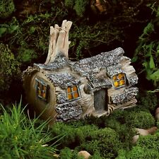 Solar Powered Fairy House LED Log Dwelling Outdoor Garden Light Ornament