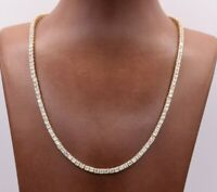 3mm Round Cut CZ Tennis Chain Necklace Real 14K Yellow Gold Clad Silver 925