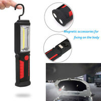 Red Rechargeable COB+LED Hand Torch Lamp Magnetic Inspection Work Light Flexible
