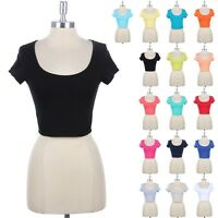 Women's Cotton Scoop Neck Crop Top Short Sleeve Cute Sexy Spandex S M L