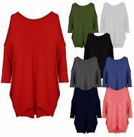 New Women's Ladies Plain Batwing Long Cut Out Shoulder Jumper Top Size 8-26