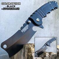"8"" Tactical Cleaver Folding Pocket Razor Knife Combat Spring Assisted Blade NEW"