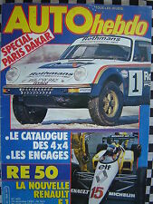 auto hebdo 1983 GUIDE PARIS DAKAR 1984 / FORMULE 1 RENAULT RE 50