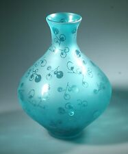 "Hand Blown Glass Vase 14"" Tall Clear Blue with Abstract Fruits pattern"