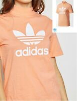 Womens adidas Originals HN Logo T-Shirt Ladies adidas Chalk Coral