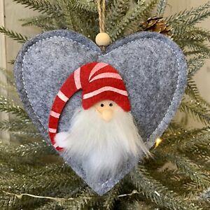 Grey Felt Gonk Heart Christmas Tree Decoration Red White Stripe Hanging Father