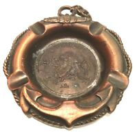 Hong Kong Chinese Dragon Copper Plated Ashtray Lifesaver Anchor Vintage Souvenir