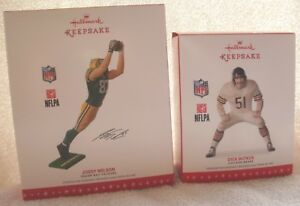 Lot of 2 Football Hallmark Ornaments - Jordy Nelson G B Packers and Dick Butkus