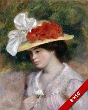 YOUNG WOMAN GIRL IN FLOWERED HAT PAINTING AUGUSTE RENOIR ART REAL CANVAS PRINT