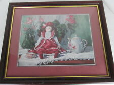 """Vel Bishop Doll and Teapot Framed Print 22 1/2"""" x 19"""" Matted Soft Colors S"""