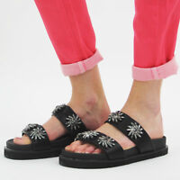 Ladies Womens Flats Summer Sandals Mule Flowery Details Sliders Slip On Shoes