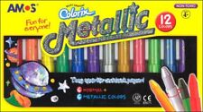 NEW AMOS Silky Crayons Pastel Metallic 12 Colours Pack - Bright on black paper