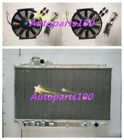 Aluminum Radiator + Fans Toyota Supra turbo Auto JZA80 JZA80 2JZ-GTE 93-98 94 95