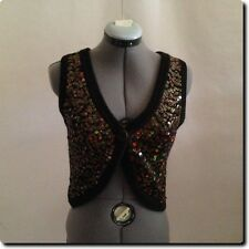 Hollister Sequined Brown Sleeveless Cardigan Sweater Vest small