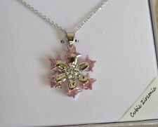 Star Snowflake Pink & Clear CZ Pendant Silver Plated Necklace Gift Box