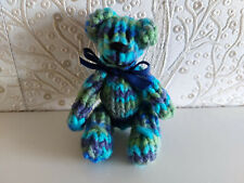 7 cm Variegated Hand Knitted Tiny Jointed Teddy Bear Birthday Gift Present