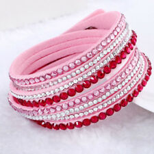 Women Ladies Crystal Hand Wrap Wristband Cuff Punk Rhinestone Bracelet Bangle